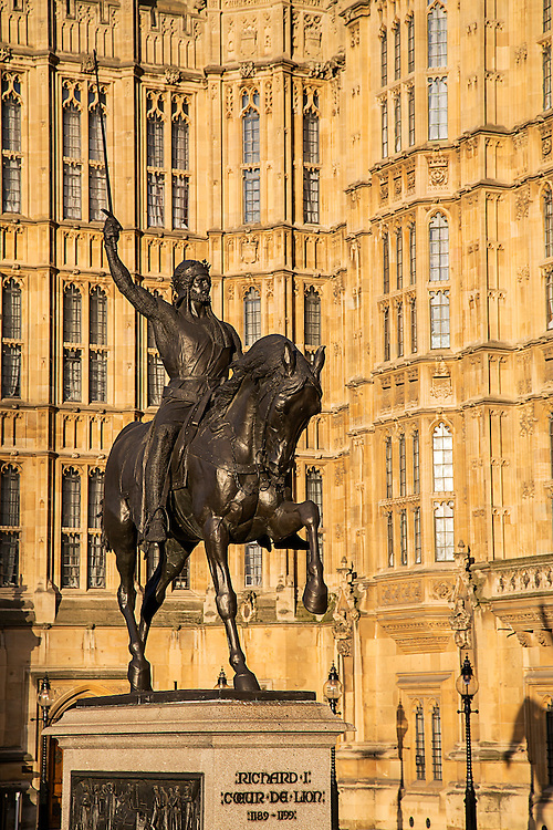 Richard Coeur de Lion is an equestrian statue of Richard I of England, who was also known as Richard the Lionheart, created by Baron Carlo Marochetti in 1856. The statue shows King Richard I on horseback, wearing a mail shirt and lifting a sword into the air