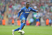 AFC Wimbledon striker Adebayo Azeez (14) during the Sky Bet League 2 play off final match between AFC Wimbledon and Plymouth Argyle at Wembley Stadium, London, England on 30 May 2016.