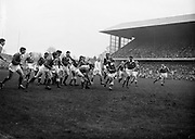 Irish Rugby Football Union, Ireland v Wales, Five Nations, Landsdowne Road, Dublin, Ireland, Saturday 12th March, 1960,.12.3.1960, 3.12.1960,..Referee- D A Brown, Rugby Football Union, ..Score- Ireland 9 - 10 Wales, ..Irish Team, ..T J Kiernan,  Wearing number 15 Irish jersey, Full Back, University college Cork Football Club, Cork, Ireland,  ..W W Bornemann, Wearing number 14 Irish jersey, Right Wing, Wanderers Rugby Football Club, Dublin, Ireland, ..D Hewitt, Wearing number 13 Irish jersey, Right centre, Queens University Rugby Football Club, Belfast, Northern Ireland,..A C Pedlow, Wearing number 12 Irish jersey, Left Centre,  C I Y M S Rugby Football Club, Belfast, Northern Ireland, ..D C Glass, Wearing number 11 Irish jersey, Left Wing, Collegians Rugby Football Club, Belfast, Northern Ireland,..S Kelly, Wearing number 10 Irish jersey, Outside Half, Landsdowne Rugby Football Club, Dublin, Ireland, ..A A Mulligan, Wearing number 9 Irish jersey, Captain of the Irish team, Scrum Half, London Irish Rugby Football Club, Surrey, England, ..S Millar, Wearing number 1 Irish jersey, Forward, Ballymena Rugby Football Club, Antrim, Northern Ireland,..B McCallan, Wearing number 2 Irish jersey, Forward, Ballymena Rugby Football Club, Antrim, Northern Ireland,..B G Wood, Wearing number 3 Irish jersey, Forward, Landsdowne Rugby Football Club, Dublin, Ireland,..W A Mulcahy, Wearing number 4 Irish jersey, Forward, University College Dublin Rugby Football Club, Dublin, Ireland, ..M G Culliton, Wearing number 5 Irish jersey, Forward, Wanderers Rugby Football Club, Dublin, Ireland, ..N Murphy, Wearing number 6 Irish jersey, Forward, Cork Constitution Rugby Football Club, Cork, Ireland,..T McGrath, Wearing number 7 Irish jersey, Forward, Garryowen Rugby Football Club, Limerick, Ireland, ..J R Kavanagh, Wearing number 8 Irish jersey, Forward, Wanderers Rugby Football Club, Dublin, Ireland, ..Welsh Team, ..N Morgan, Wearing number 1 Welsh jersey, Full Back, Newport Rugby Football Club,
