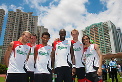 Hong Kong, China - Wednesday, July 25, 2007: Liverpool's Andriy Voronin, Jamie Carragher, Jermaine Pennant, Momo Sissoko, Sami Hyypia and Yossi Benayoun during a coaching session with local children at the Siu Sai Wan Sports Ground in Hong Kong. (Photo by David Rawcliffe/Propaganda)