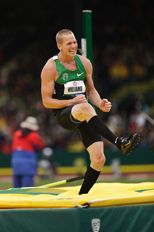 Men's high jump: Jesse WIliams reacts to miss