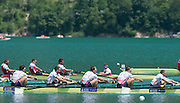Aiguebelette, FRANCE  Bronze medallist, GBR M8+ left to right, Alan SINCLAIR, Nathaniel REILLY-O'DONNELL, Matt LANGRIDGE, Peter REED and James FOAD at the 2014 FISA World Cup II. 14:23:36  Sunday  22/06/2014. [Mandatory Credit; Peter Spurrier/Intersport-images]