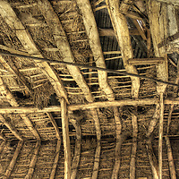 The interior of a thatched Suffolk barn