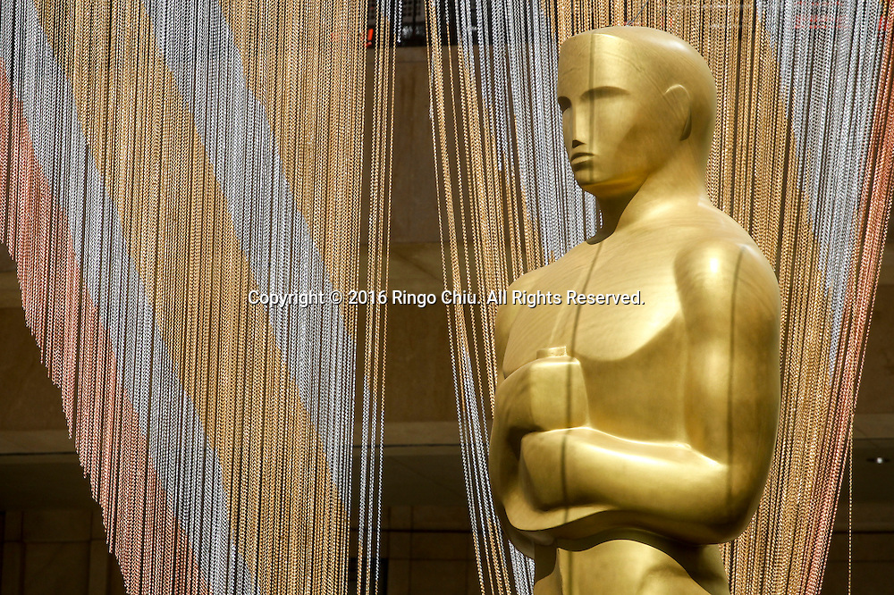 An Oscar Statuette is seen in front of Dolby Theatre in preparation for the 88th Academy Awards in Los Angeles, Monday, February 22, 2016. The Academy Awards will be held Sunday, February 28, 2016. (Photo by Ringo Chiu/PHOTOFORMULA.com)<br /> <br /> Usage Notes: This content is intended for editorial use only. For other uses, additional clearances may be required.