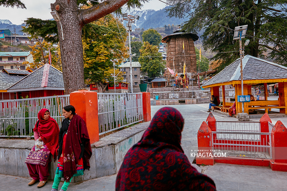 Women resting in Chaurasi temple complex in Bharmaur, Chamba, Himachal Pradesh, India