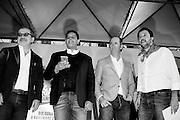 Da sinistra, presidente della regione Lombardia Roberto Maroni, il presidente della regione Liguria Giovanni Toti, il presidente della regione Veneto Luca Zaia e il segretario della Lega Matteo Salvini durante la manifestazione della Lega Nord con Forza Italia e Fratelli d'Italia. Bologna, 8 novembre 2015. Guido Montani / OneShot<br /> <br /> From Left, Lombardia governor Roberto Maroni, Liguria governor Giovanni Toti, Veneto governor Luca Zaia and Lega Nord leader Matteo Salvini during the Lega Nord, Fratelli d'Italia and Forza Italia gathering in piazza Maggiore. Bologna, 8 november 2015 Guido Montani / OneShot