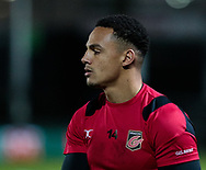 Dragons' Ashton Hewitt during the pre match warm up<br /> <br /> Photographer Simon King/Replay Images<br /> <br /> Guinness Pro14 Round 12 - Dragons v Cardiff Blues - Sunday 31st December 2017 - Rodney Parade - Newport<br /> <br /> World Copyright © 2017 Replay Images. All rights reserved. info@replayimages.co.uk - http://replayimages.co.uk