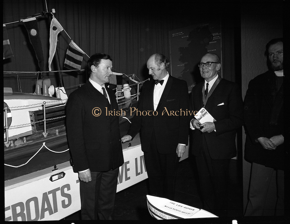 Mr Jack Lynch Opens the Boat show..1973..27.02.1973..02.27.1973..27th February 1973..After a hectic general election campaign,An Taoiseach, Jack Lynch found time before the ballot counts to officially open the Irish Boat Show in the RDS (Royal Dublin Showgrounds)...An Taoiseach,Mr Jack Lynch, is pictured  taking the time to speak to representatives of the Royal National Life-boat Institution (RNLI) at the boat show.