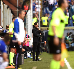 GENOVA, Sept. 25, 2017  AC Milan's head coach Vincenzo Montella is seen during a Serie A soccer match between AC Milan and Sampdoria in Genova, Italy, Sept. 24, 2017. Sampdoria won 2-0. (Credit Image: © Alberto Lingria/Xinhua via ZUMA Wire)