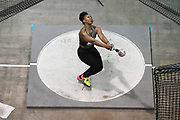 Mar 4, 2017; Albuquerque, NM, USA: Gwen Berry poses wins the women's weight throw in a world record 84-0 (25.60m) during the USA Indoor Championships at Albuquerque Convention Center.
