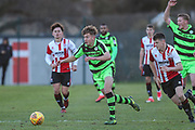 Forest Green Rovers Jay Malshanskys(7) runs forward during the The Central League match between Cheltenham Town Reserves and Forest Green Rovers Reserves at The Energy Check Training Ground, Cheltenham, United Kingdom on 28 November 2017. Photo by Shane Healey.