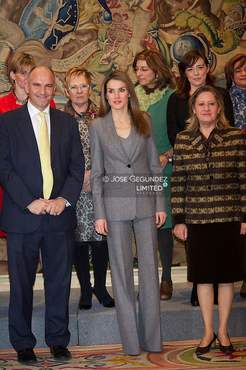 Princess Letizia attends an audience to a representation of your School Improvement Partnership (MEP)at Zarzuela Palace in Madrid