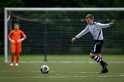 Damian #4 of VV Maarssen  in action. VV Maarssen O14-1 played a friendly game against CDW O15-2. Maarssen won 9-2 on July 11, 2020 at Daalseweide sports park Maarssen.