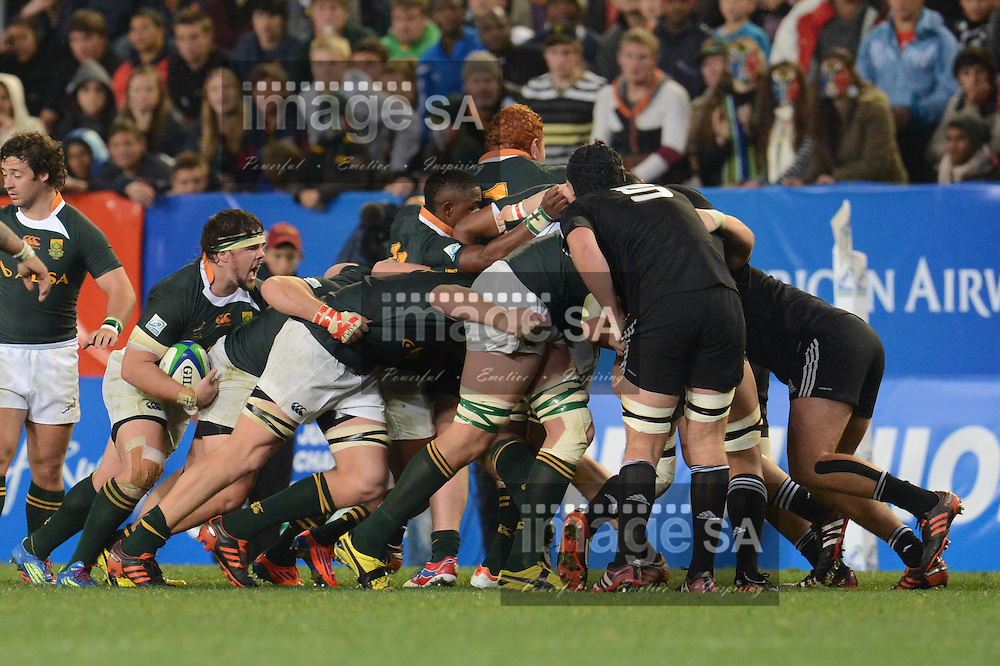 CAPE TOWN, SOUTH AFRICA: Friday 22 June 2012, Mark Pretorius of SA driving from the back during the IRB Junior World Championship final between South Africa and New Zealand at the DHL Newlands stadium, Cape Town..Photo by Roger Sedres/ImageSA/IRB