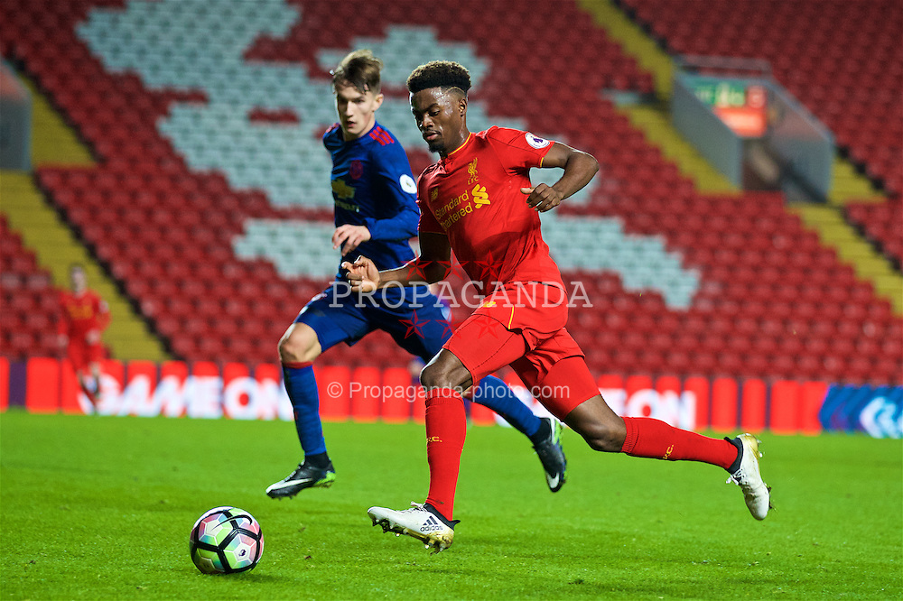 LIVERPOOL, ENGLAND - Monday, January 16, 2017: Liverpool's Madger Gomes in action against Manchester United during FA Premier League 2 Division 1 Under-23 match at Anfield. (Pic by David Rawcliffe/Propaganda)