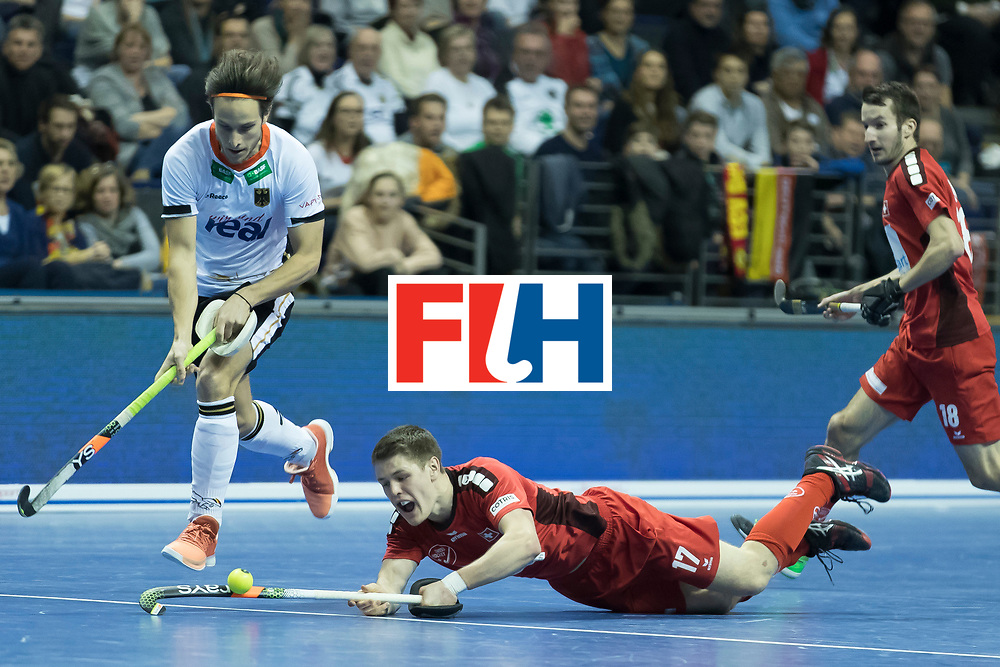 Hockey, Seizoen 2017-2018, 09-02-2018, Berlijn,  Max-Schmelling Halle, WK Zaalhockey 2018 MEN, Germany - Switzerland 3-0, Boris Stomps and Marco Miltkau. Worldsportpics copyright Willem Vernes