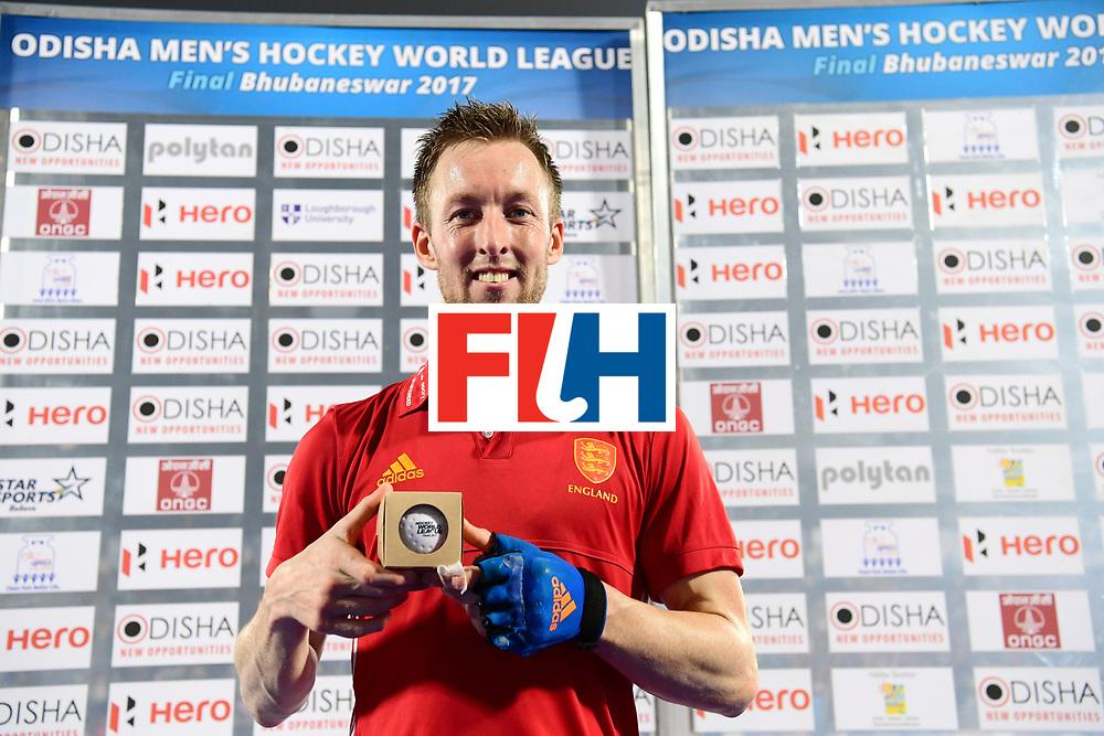 Odisha Men's Hockey World League Final Bhubaneswar 2017<br /> Match id:09<br /> Australia v England<br /> Foto: 400 cap Barry Middleton (Eng) <br /> WORLDSPORTPICS COPYRIGHT FRANK UIJLENBROEK