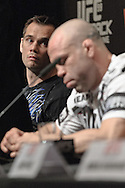 "COLOGNE, GERMANY, JUNE 11, 2009: Rich Franklin (left) eyes opponent Wanderlei Silva during the pre-fight press conference for ""UFC 99: The Comeback"" inside the Hyatt Regency Hotel in Cologne, Germany on June 11, 2009."