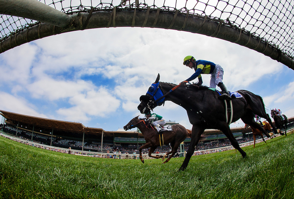 """June 13 2015: Talco with Rafael Bejarano up defeats Midnight Storm to win the Shoemaker Mile, a part of the Breeders' Cup """"Win and you're in"""" series  at Santa Anita Park in Arcadia CA. Alex Evers/ESW/CSM"""
