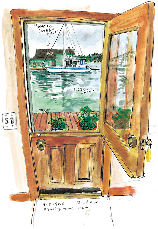 A view of the famous &quot;Sleepless in Seattle&quot; houseboat from inside another floating home on the Lake Union docks.<br />