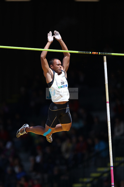 Bryan Clay competes in the high jump portion of the Decathlon during day 2 of the U.S. Olympic Trials for Track & Field at Hayward Field in Eugene, Oregon, USA 23 Jun 2012..(Jed Jacobsohn/for The New York Times)....