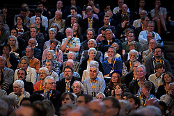 © Licensed to London News Pictures. 18/09/2018. Brighton, UK.  Party delegates listen to a debate at the final day of the Liberal Democrat Autumn Conference in Brighton, East Sussex on September 18, 2018. This years event has been mainly focused around Brexit, the UK's departure from the EU. Photo credit: Ben Cawthra/LNP