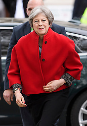 © Licensed to London News Pictures. 24/04/2018. London, UK. British Prime Minister THERESA MAY arrives for the unveiling of a statue of Millicent Fawcett in Parliament Square, London. Dame Millicent, a leading Suffragist and campaigner for equal rights for women, is the first woman to be commemorated with a statue in Parliament Square. Photo credit: Ben Cawthra/LNP