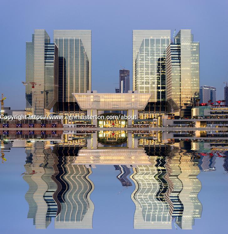 View of new Sowwah Square property development on Al Maryah Island in Abu Dhabi United Arab Emirates