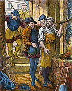 Persecution of Protestants in France under Henry II (1547-1559). Huguenot smith arrested for refusing to attend Mass and working on a saint's day.  Mid-19th century illustation.