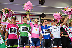 The race jerseys presented to the crowds at Giro Rosa 2016 - Stage 1. A 104 km road race from Gaiarine to San Fior, Italy on July 2nd 2016.