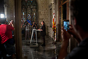 Barcellona major, Ms Ada Colau reacts to the photographers before a press conference. October 10th, 2017. Barcellona, Spain.
