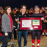 16 February 2018: San Diego State baseball opened up the season against UCSB at Tony Gwynn Stadium. San Diego State infielder Danny Sheehan was honored with his All American plaque from his senior year prior to the game against UCSB. The Aztecs beat the Gauchos 9-1. <br /> More game action at sdsuaztecphotos.com
