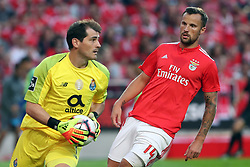 October 7, 2018 - Lisbon, Portugal - Porto's Spanish goalkeeper Iker Casillas vies with Benfica's Suisse forward Haris Seferovic (R ) during the Portuguese League football match SL Benfica vs FC Porto at the Luz stadium in Lisbon on October 7, 2018. (Credit Image: © Pedro Fiuza/ZUMA Wire)