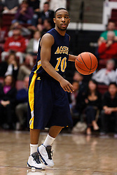 December 15, 2010; Stanford, CA, USA;  North Carolina A&T Aggies guard Marc Hill (10) dribbes up court against the North Carolina A&T Aggies during the second half at Maples Pavilion.  Stanford defeated North Carolina A&T 76-59.