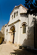 Israel, Nazareth, exterior of the Church of St Joseph in the Basilica of the Annunciation compound. built in 1914. The caves in the lower level were used by christians as a worship site tradition identifies the place as the carpentry shop of Joseph or the house of Joseph