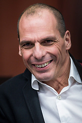 Greek Finance Minister Yanis Varoufakis during an emergency Eurogroup finance ministers meeting at the European Council in Brussels, Belgium on 20.02.2015 Eurogroup head Jeroen Dijsselbloem was working overtime on February 20 to save a make-or-break meeting on Greece's demand to ease its bailout programme as and Germany insisted it stick with its austerity commitments after days of sharp exchanges, the 19 eurozone finance ministers gathered for the third time in little over a week to consider Athens' take-it or leave-it proposal to extend an EU loan programme which expires this month. by Wiktor Dabkowski. EXPA Pictures © 2015, PhotoCredit: EXPA/ Photoshot/ Wiktor Dabkowski<br /> <br /> *****ATTENTION - for AUT, SLO, CRO, SRB, BIH, MAZ only*****
