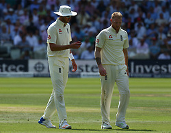 July 7, 2017 - London, United Kingdom - L-R England's Stuart Broad  and England's Ben Stokes .during 1st Investec Test Match between England and South Africa at Lord's Cricket Ground in London on July 07, 2017  (Credit Image: © Kieran Galvin/NurPhoto via ZUMA Press)