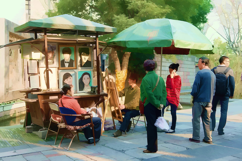 Digital painting of A street artist doing a portrait drawing with onlookers watching