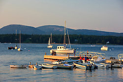 View of Mount Desert Island from the harbor on Maine's Great Cranberry Island. Near Acadia National Park.
