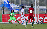 Team USA goalkeeper Edgar Alguera Mercado (12) makes a save on a shot from Portugal midfielder Diogo Prioste (8) during a CONCACAF boys under-15 championship soccer game, Saturday, August 10, 2019, in Bradenton, Fla. Portugal defeated Team USA 3-0 and advanced to the finals against Slovenia. (Kim Hukari/Image of Sport)