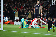 Arsenal midfielder Mesut Ozil scoring arsenals first goal to take the score 1-09during the Champions League match between Arsenal and Dinamo Zagreb at the Emirates Stadium, London, England on 24 November 2015. Photo by Matthew Redman.