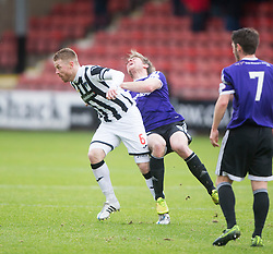 Dunfermline&rsquo;s Andy Geggan tackles Ayr United&rsquo;s Jamie Adams. <br /> Dunfermline 3 v 2 Ayr United, Scottish League One played at East End Park, 13/2/2016.