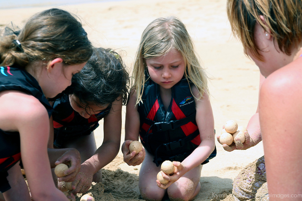 """Staff of """"Dophin Quest"""" teaches children about threatened Green Sea Turtles using ping pong balls to represent eggs."""