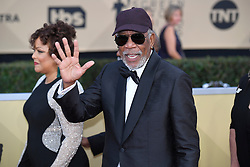 January 20, 2018 - Los Angeles, California, U.S. - MORGAN FREEMAN giving a wave during red carpet arrivals for the 24th Annual Screen Actors Guild Awards, held at The Shrine Expo Hall. (Credit Image: © Kevin Sullivan via ZUMA Wire)