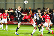 Grimsby Town midfielder Elliott Whitehouse in a challenge with Salford City defender Ibou Touray  during the EFL Sky Bet League 2 match between Salford City and Grimsby Town FC at Moor Lane, Salford, United Kingdom on 17 September 2019.