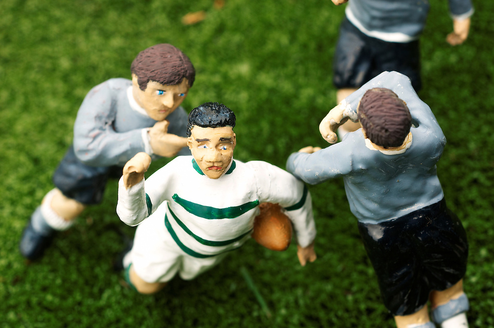 close-up of rugby match at bekonscot model village.