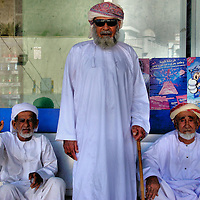 Three Old Arabian Men Wearing Omani Turbans in Khasab, Oman<br />