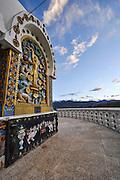 A relief panel depicting the birth of Buddha at Shanti Stupa, Ladakh, Jammu and Kashmir, India