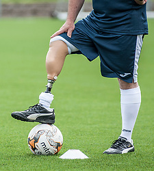 The Scotland squad of the Amputee Football Association Scotland get some last minute training in before travelling to the Netherlands for their first tri-nations championship with the host country and Germany.<br /> <br /> © Dave Johnston/ EEm
