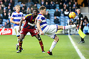 Queens Park Rangers striker Jamie Mackie (12) keeping the ball in play during the EFL Sky Bet Championship match between Queens Park Rangers and Ipswich Town at the Loftus Road Stadium, London, England on 2 January 2017. Photo by Matthew Redman.